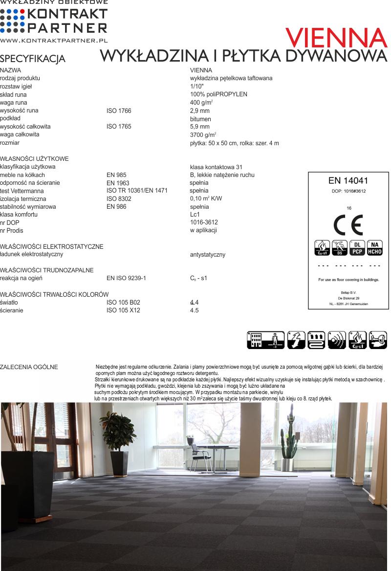 VIENNA - wykładzina i płytka dywanowa